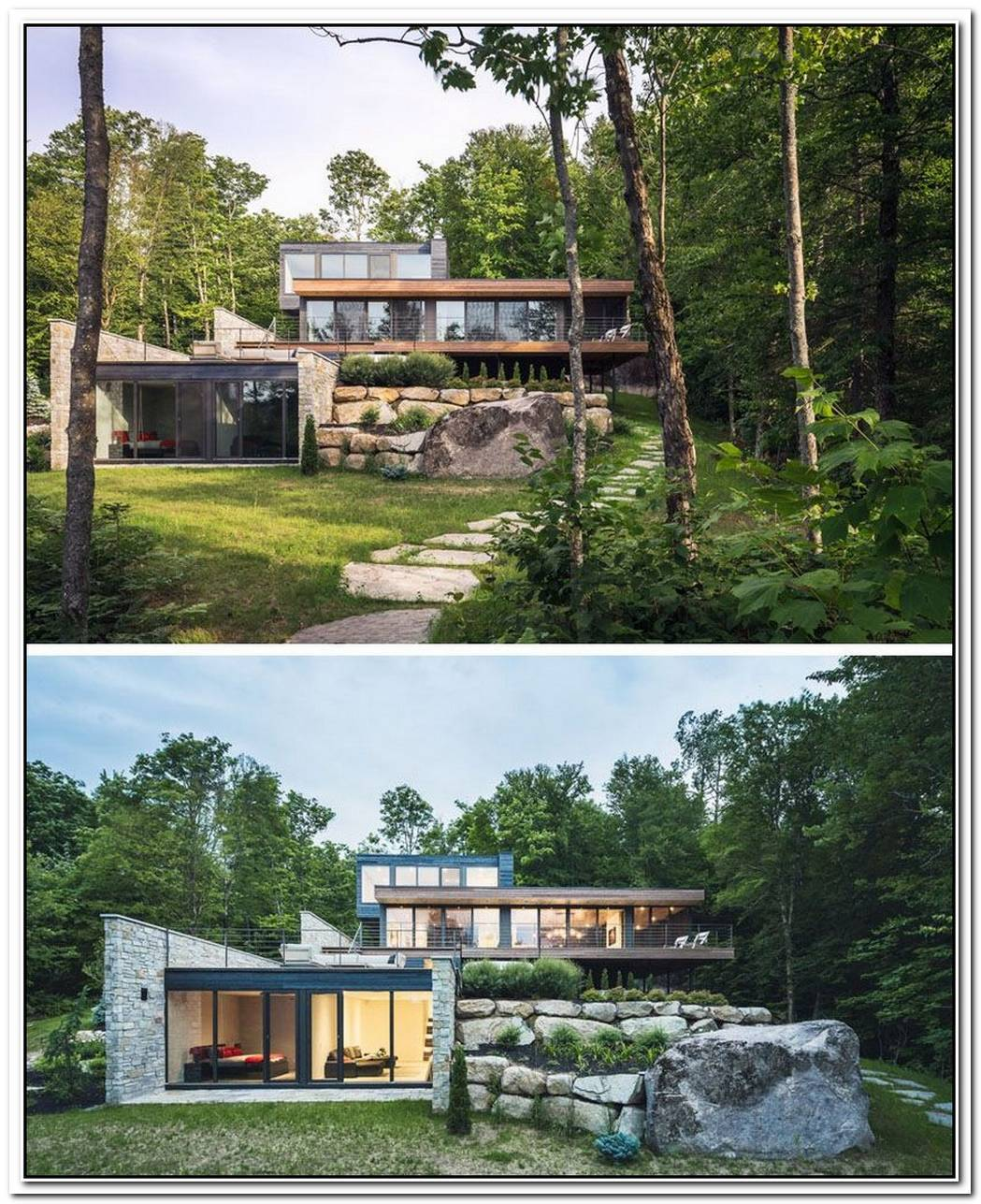A Modernist Forest House Finished In Stone