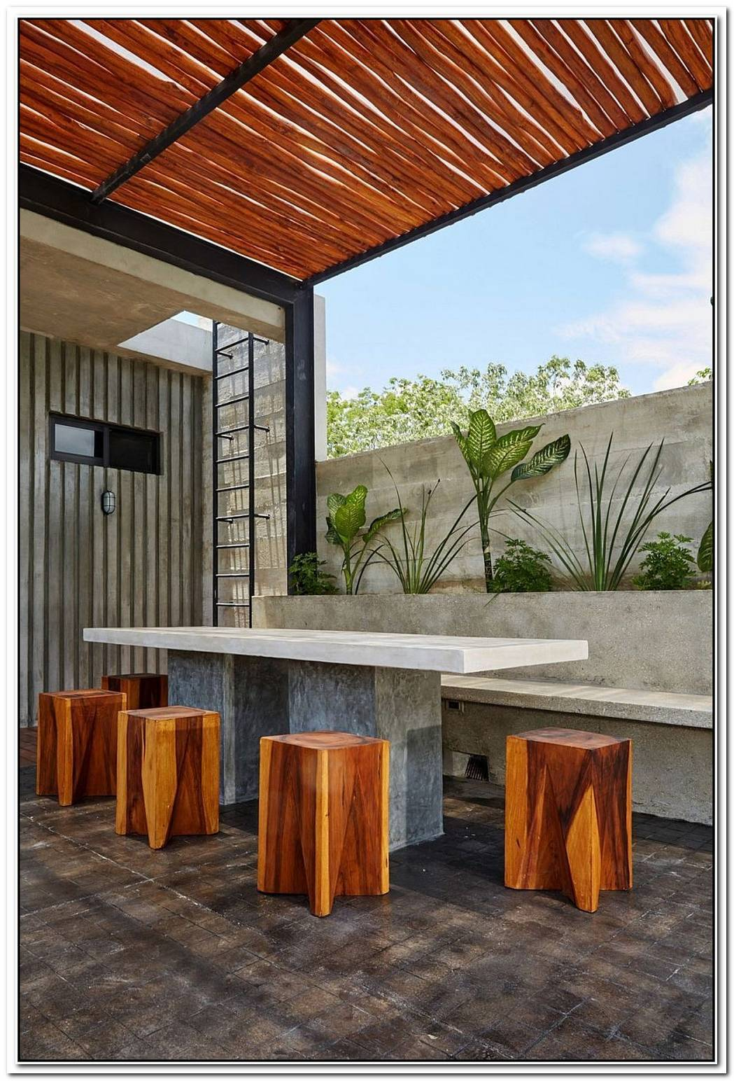 A Splash Of Color And Polished CementCasa T In Mexico