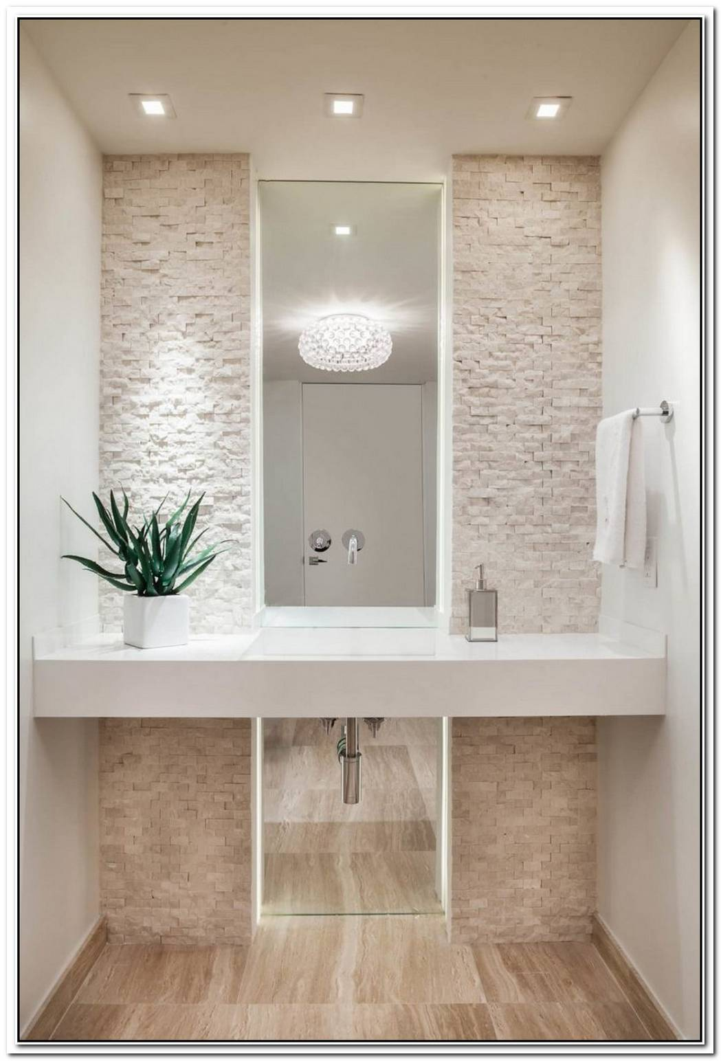 Accent Wall Bathroom White Stone