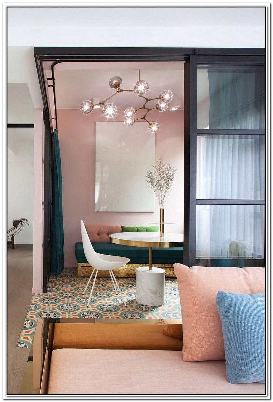 Adaptable Apartment Revamp Embraces Both Pastels And Dazzling Jewel Tones
