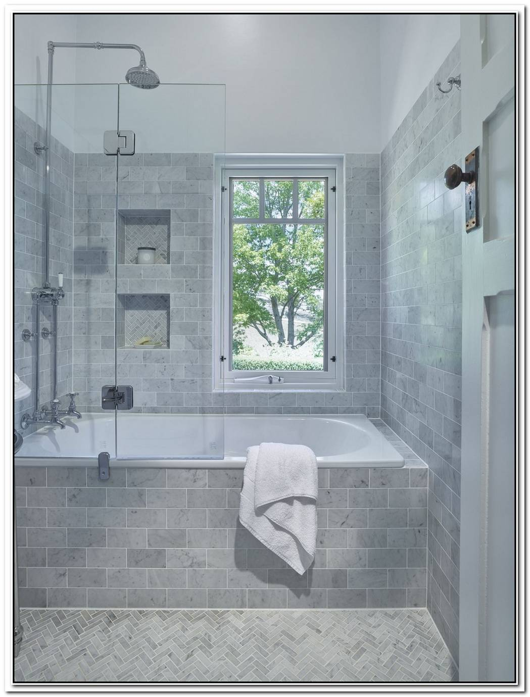 Alcove Shower Classy Traditional Bathroom