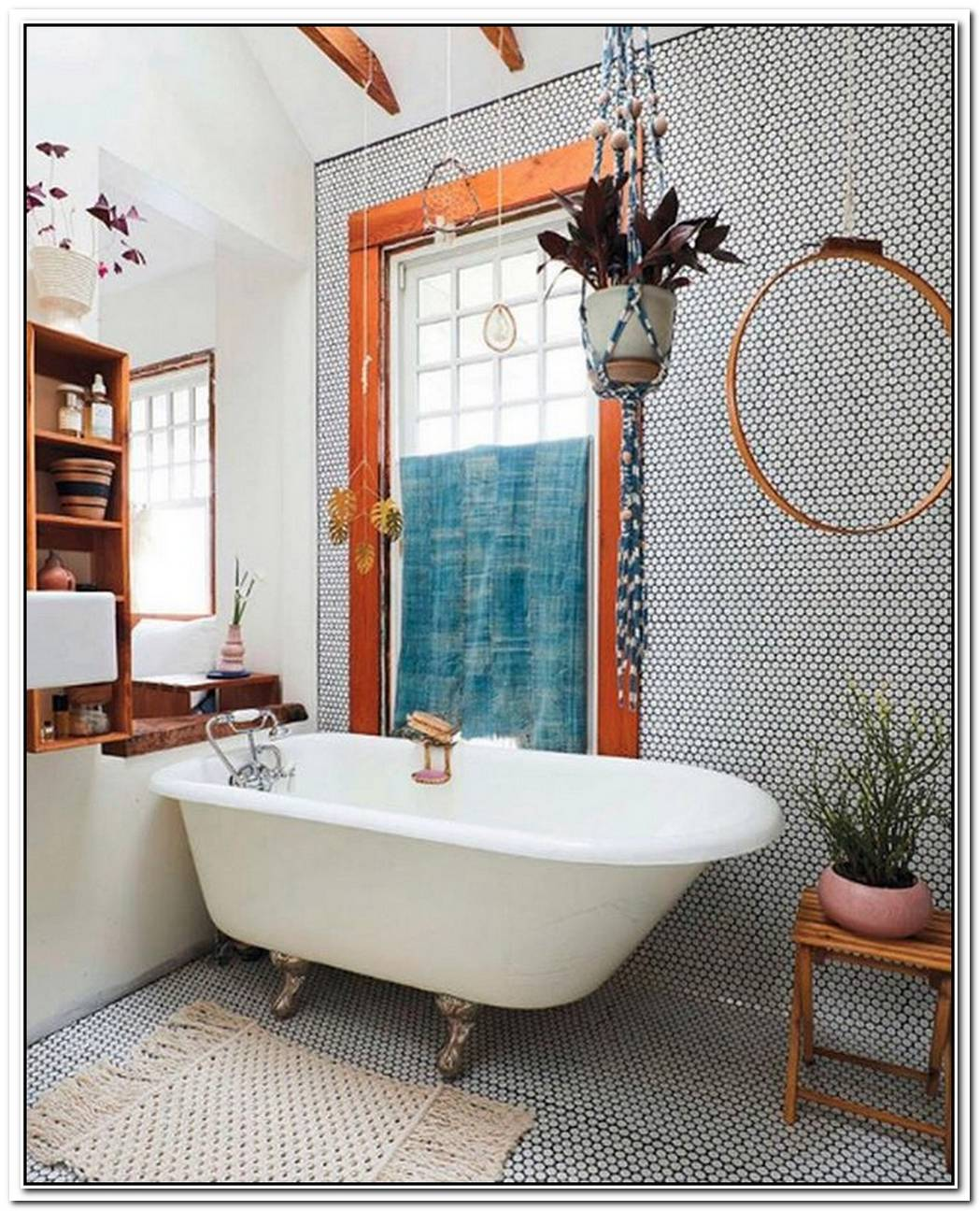 All Over Penny Tile Adds Intrigue To A Charming Bathroom