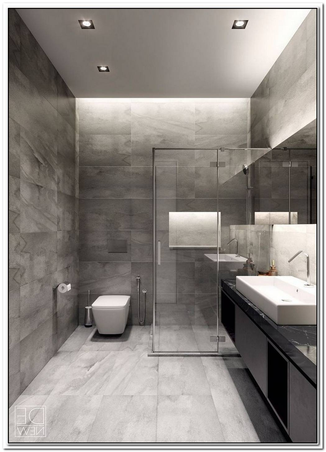 Apartment Grey Bathroom Modern