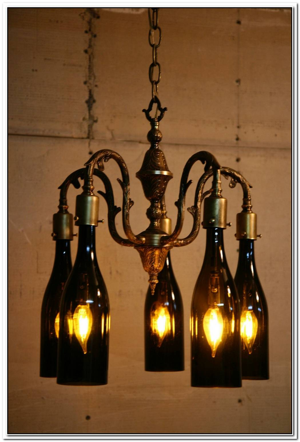 Authentic Wine Bottle Chandelier