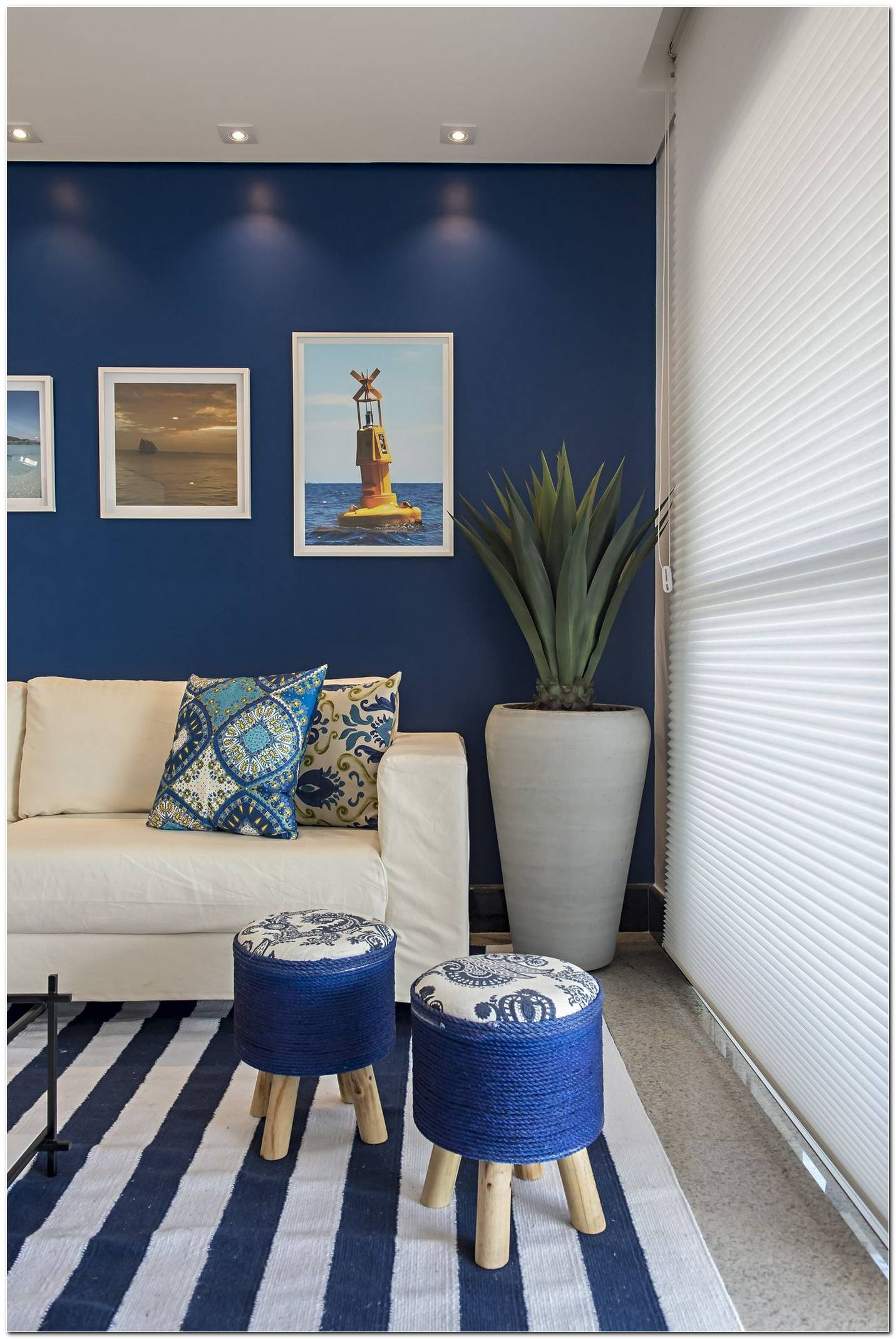 Azul Na Sala De Estar