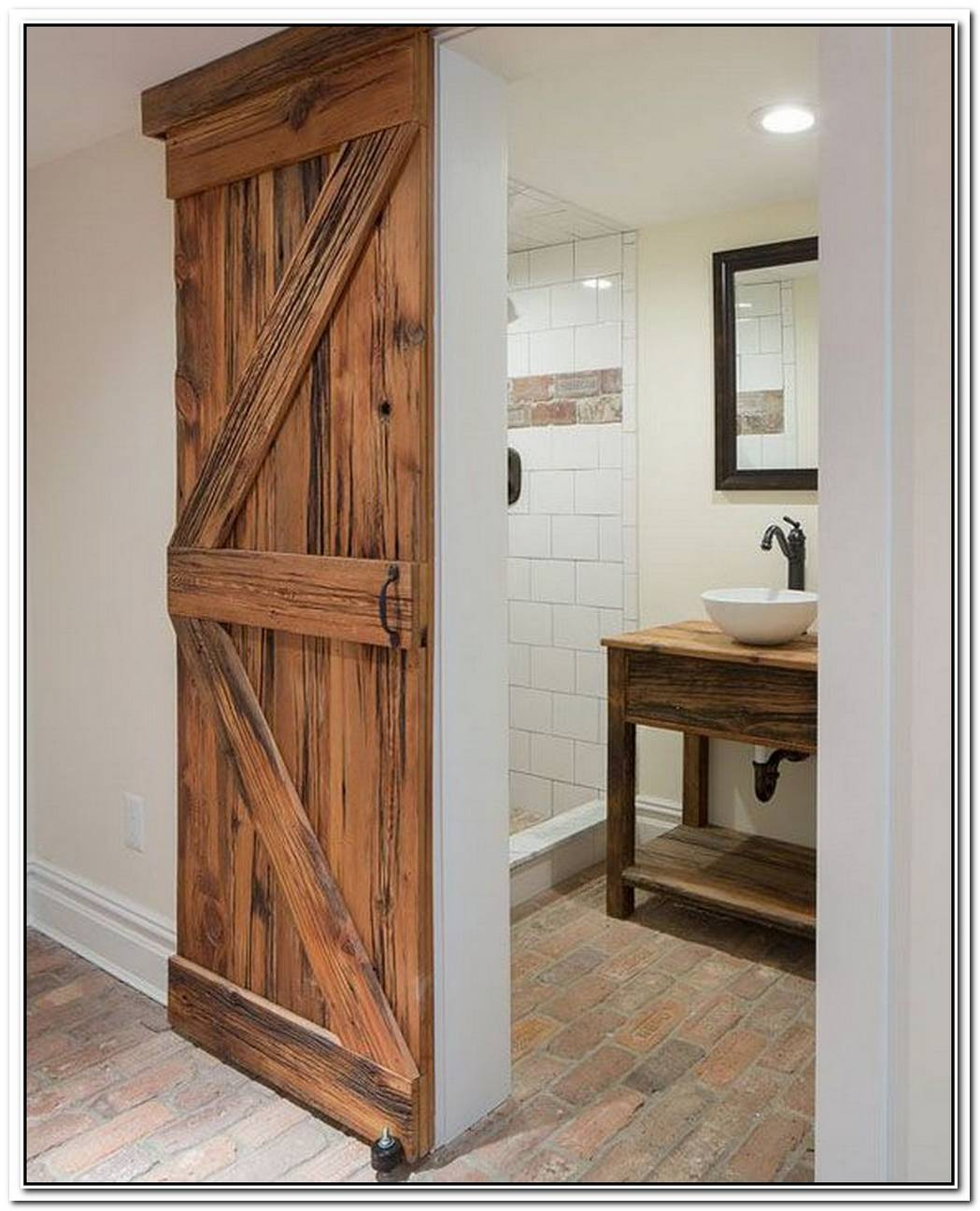 Bathroom Barn Door Weathered