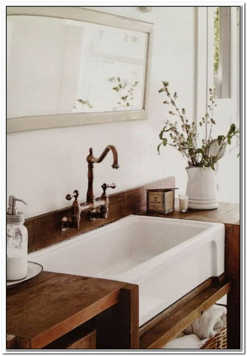 Bathroom Farmhouse Wood Apron Sink
