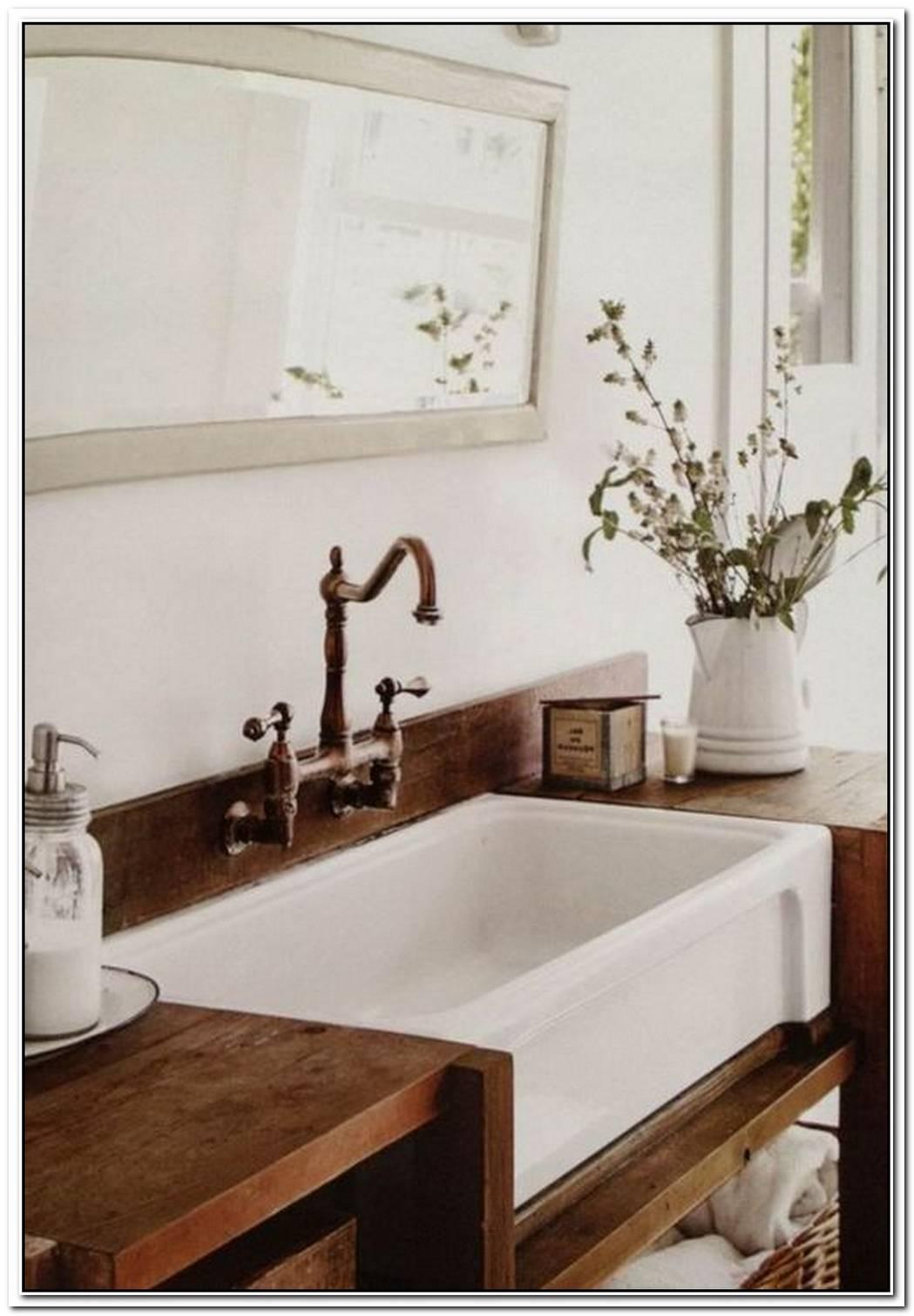 Bathroom Farmhouse Wood Apron Sink