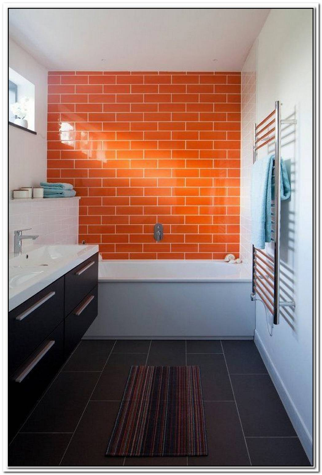 Bathroom Modern Orange Tile