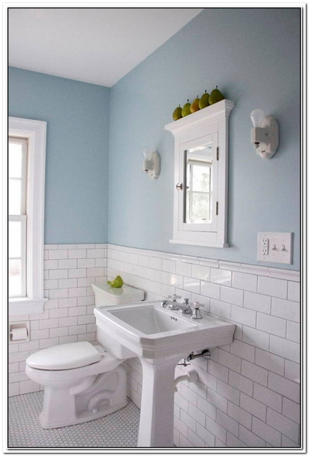 Bathroom White Tile Half