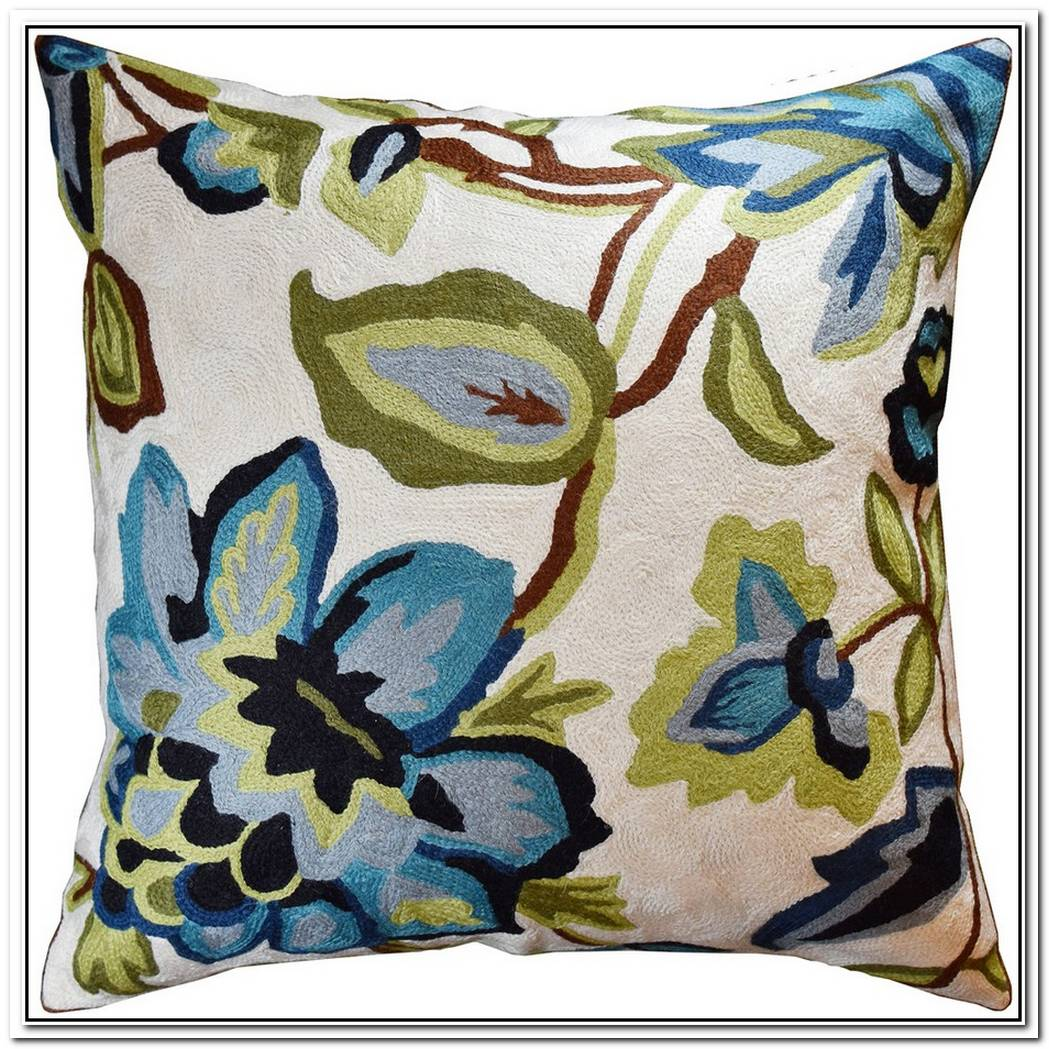 Beautiful Autumn Floral Embroidered Pillow Cover