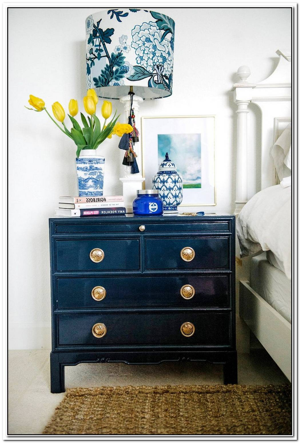 Before And After Attractive Navy Nightstands