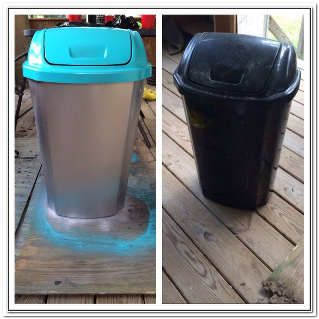 Before And After From A Common Wastebasket To A Nice Gold Storage Bin