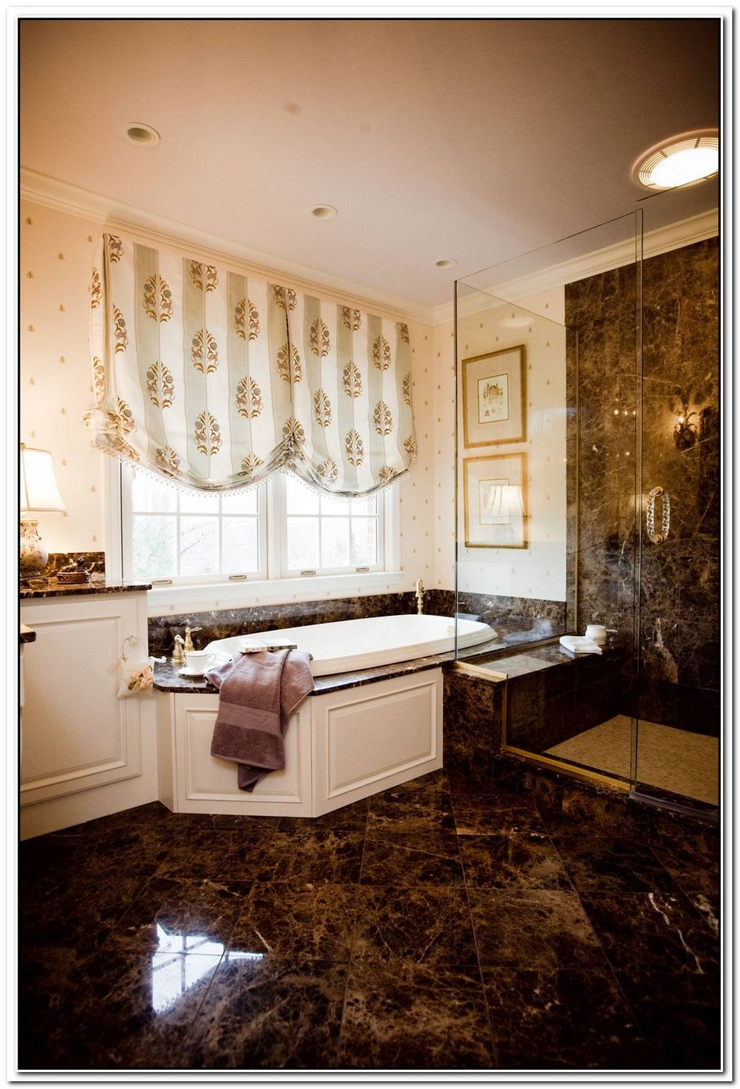 Black Emperador Marble Beautiful Traditional Bathroom