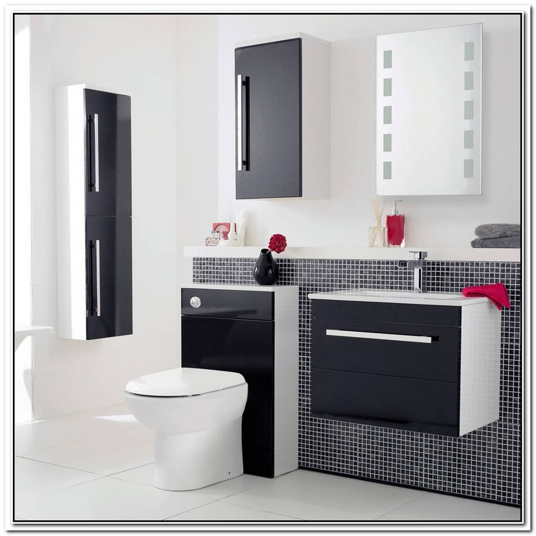 Black Gloss Black Contemporary Bathroom