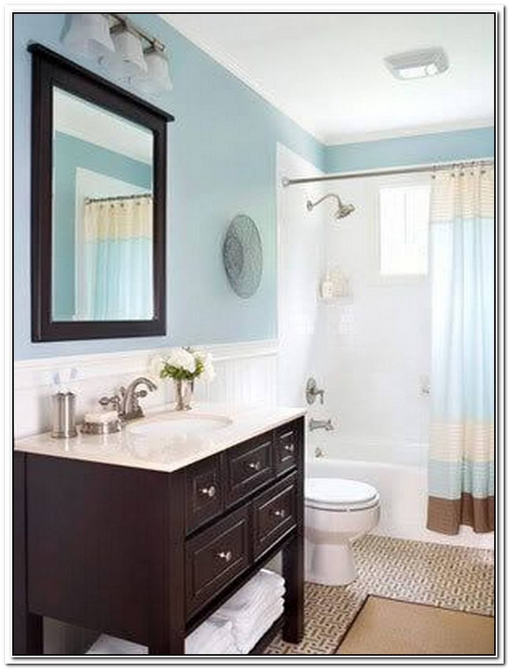 Blue Bathroom Dark Brown