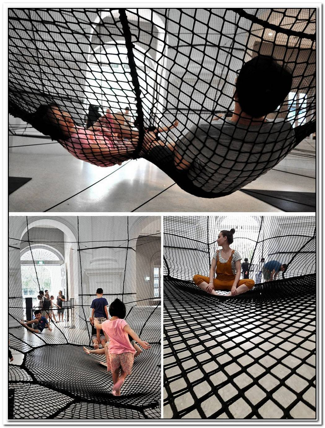 Bouncy Safety Net Installation Encourages Museum Fun In Singapore