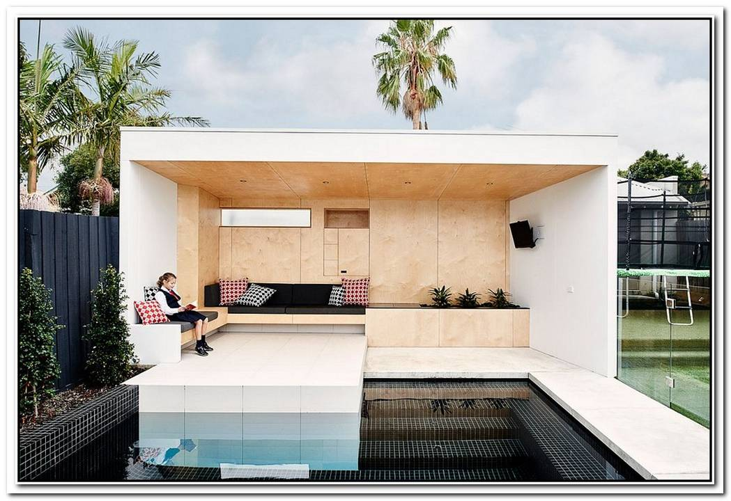 Brighton BunkerThis Plywood Clad Poolside Hangout Does It All