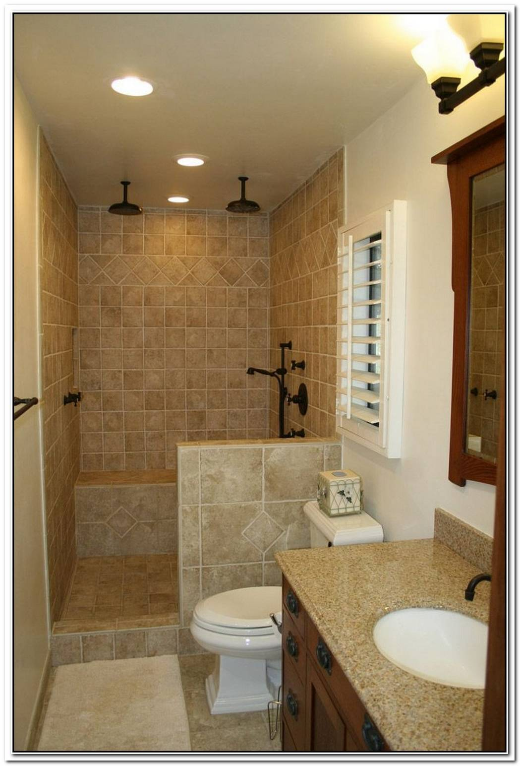 Brown Bathroom Small Master