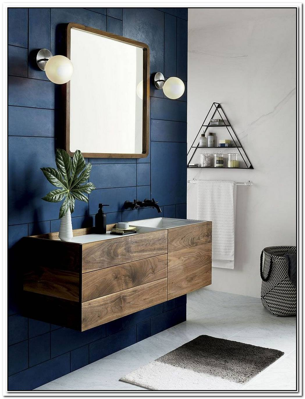 Clean Lines And Rich Hues Create A Striking Contemporary Bathroom