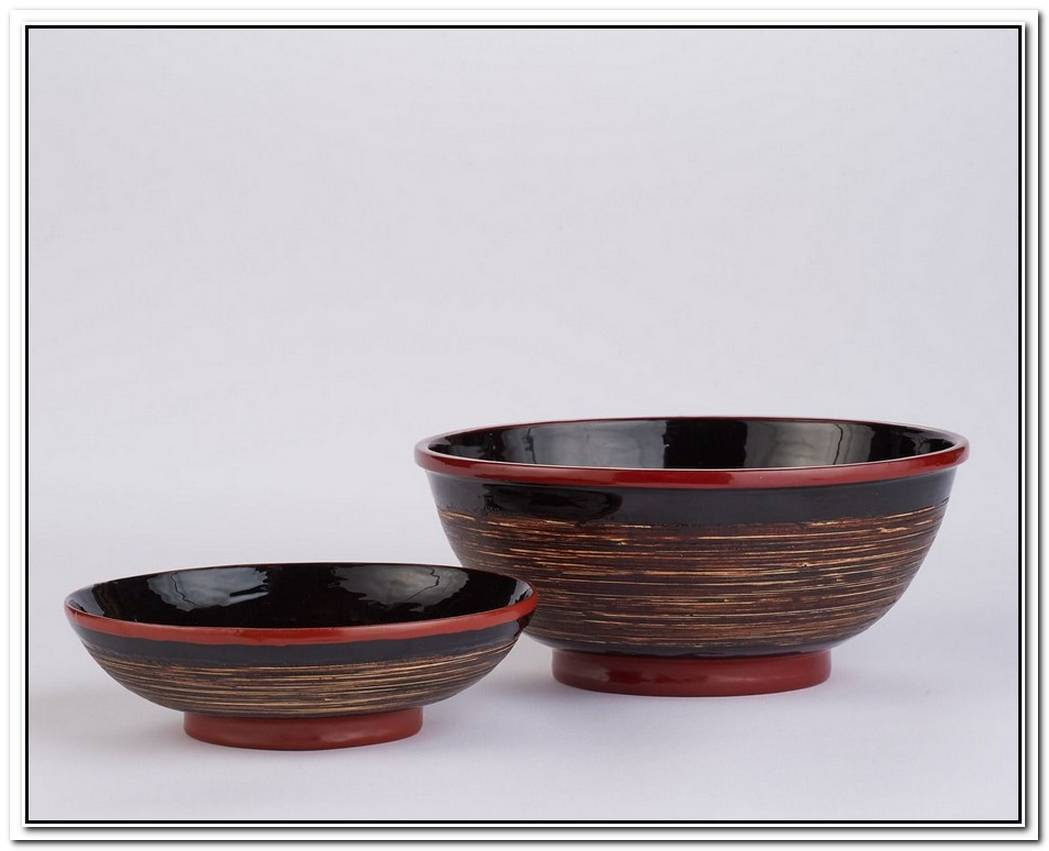 Colorful Lacquerware Bowls Handmade Of Bamboo