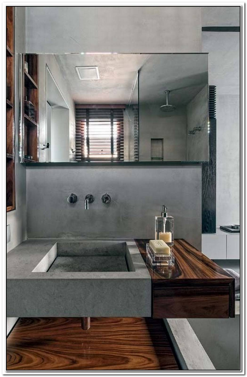 Concrete And Wood Complete An Industrial Chic Bathroom