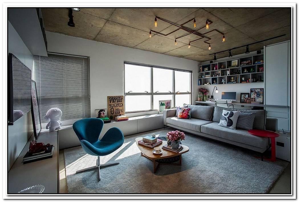 ConcreteCement And Creative LightingSpaceSavvy Apartment In Sao Paulo