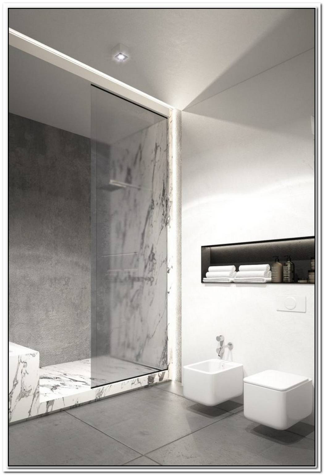 Contemporary Bathroom Concrete Marble