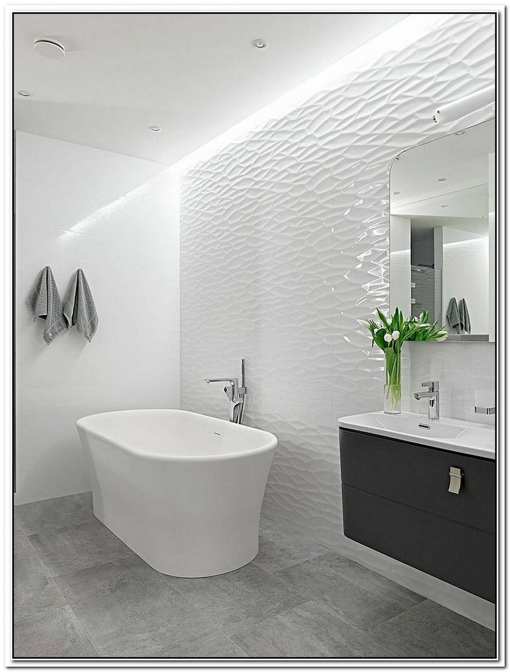 Contemporary Bathroom White Apartment