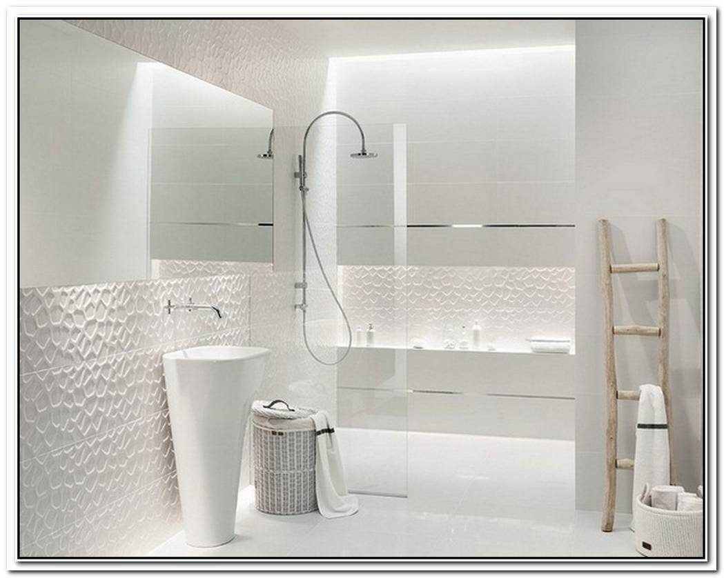 Contemporary Bathroom White White Tile