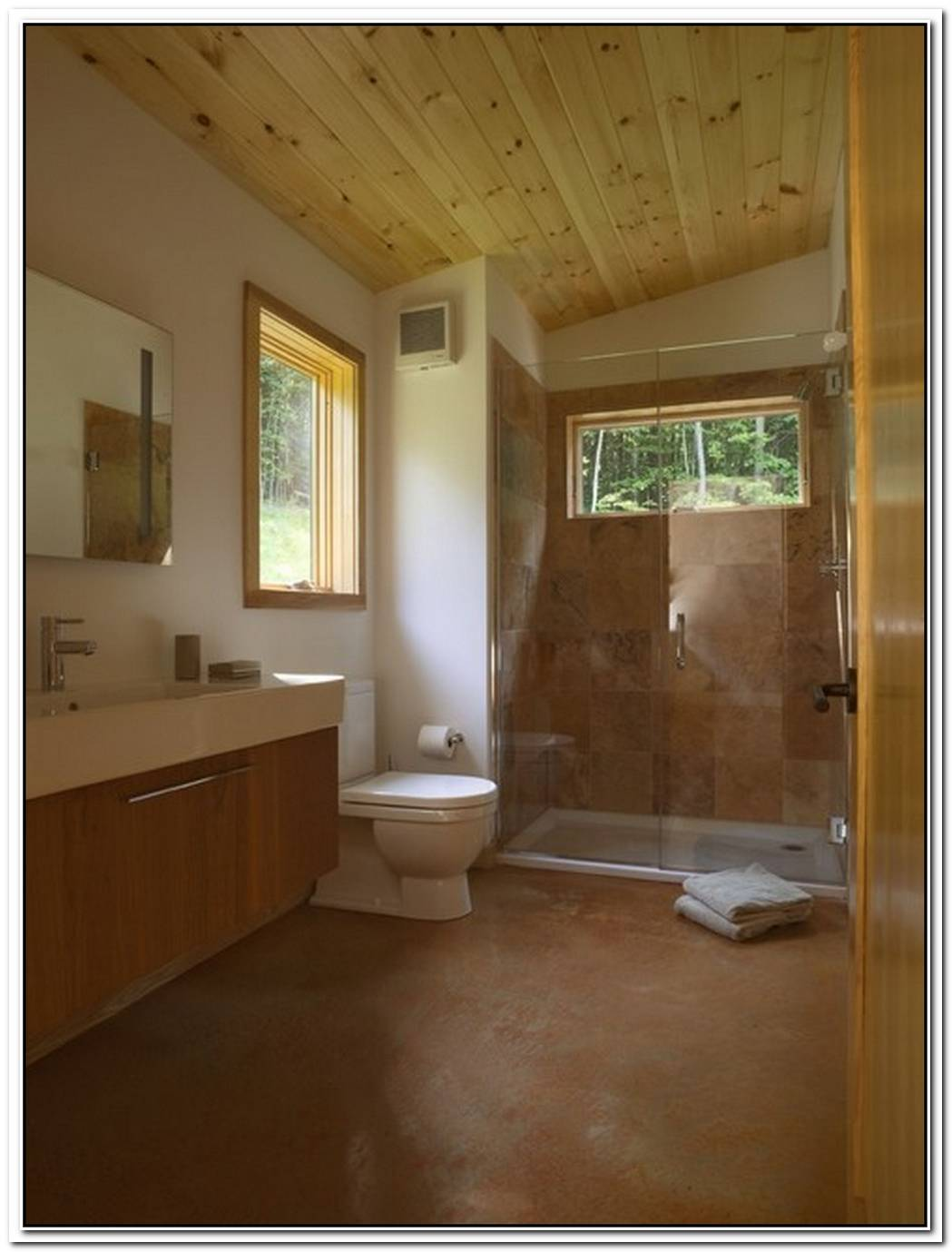 Contemporary Bathroom Wood Floor Cabin