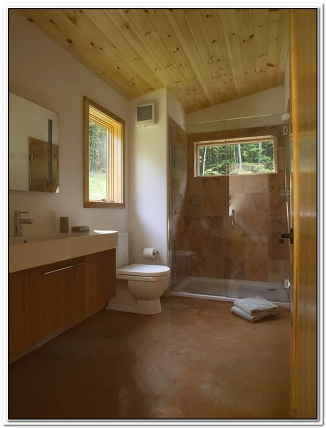 Contemporary Bathroom Wood Floor Cabin