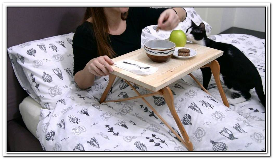 Create Your Own Bed Table With Wooden Hangers