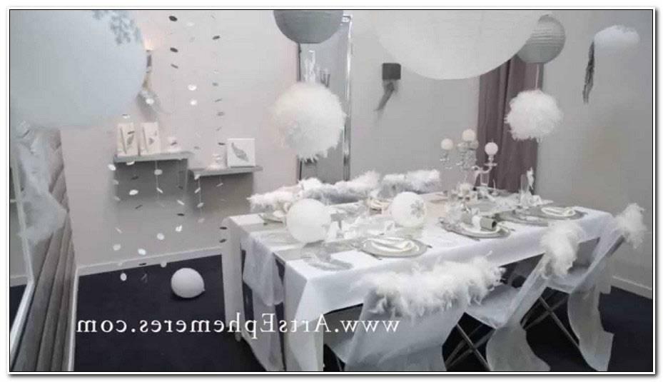 Deco De Table Noel Blanc Et Argent