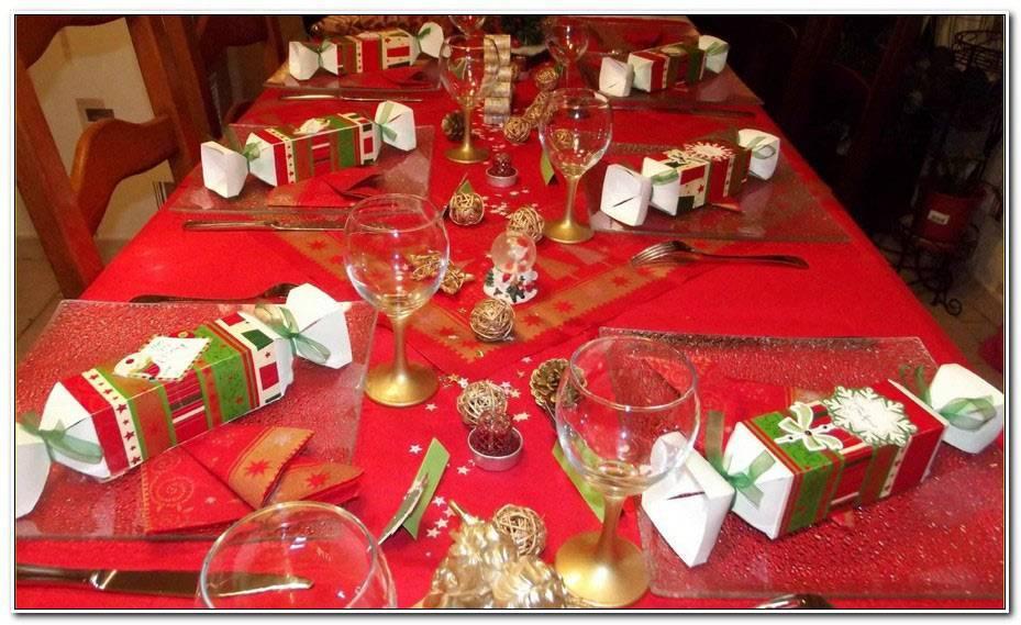 Deco De Table Noel Rouge Et Argent