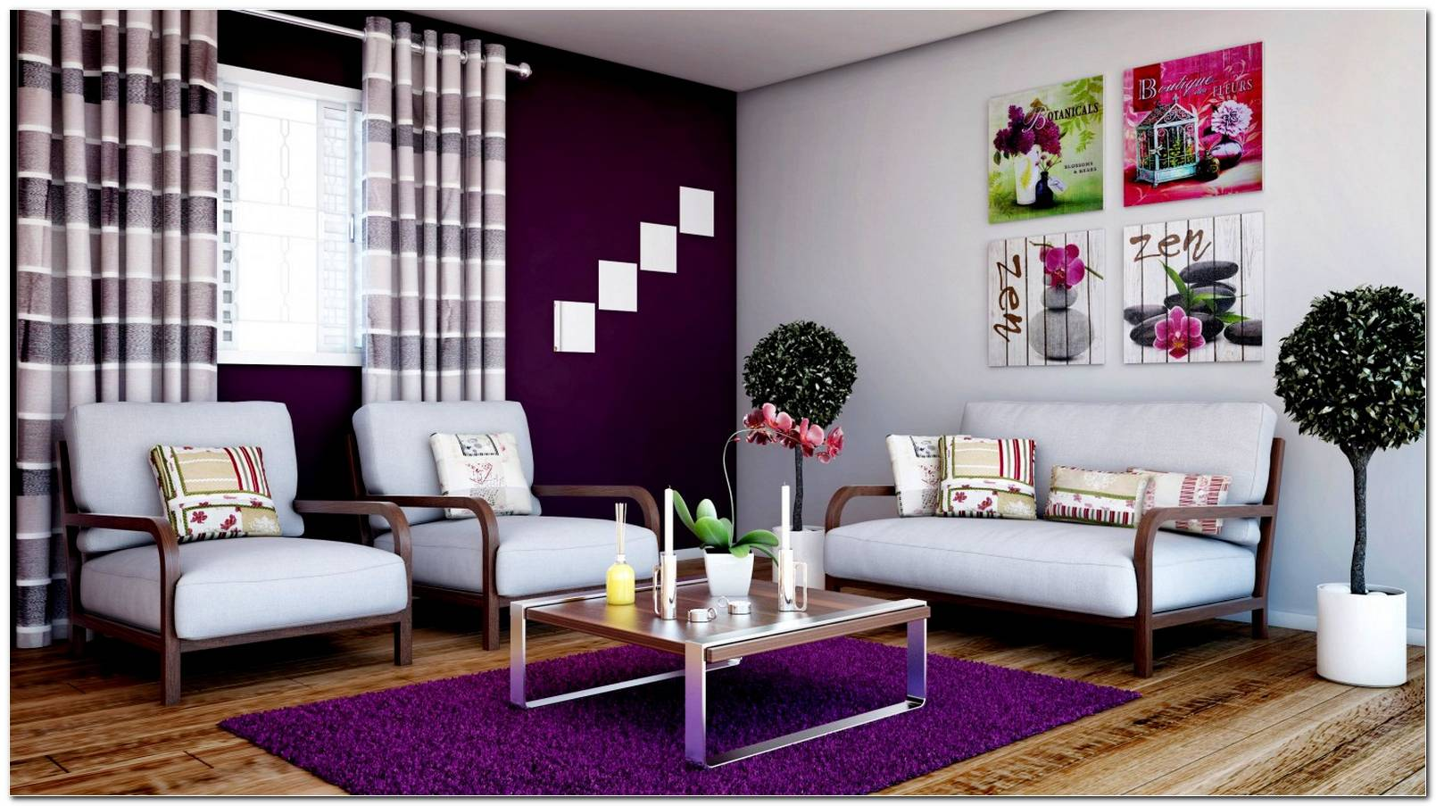 Decoracao Sala De Estar Roxo