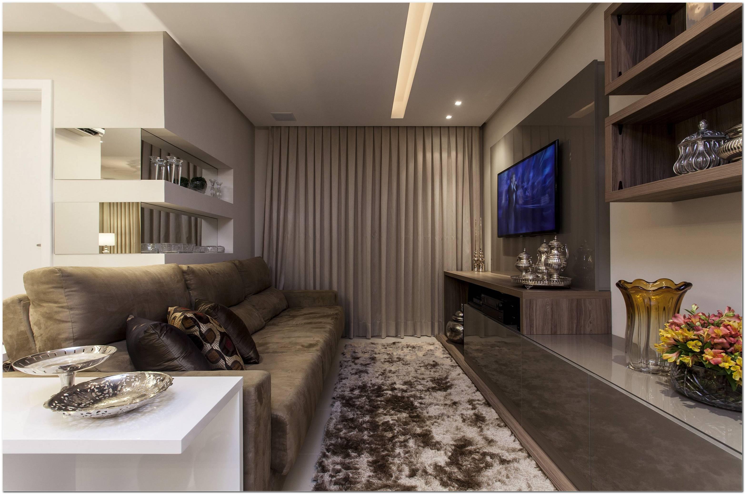 Decoracao Sala Pequena Apartamento Sofa Marrom