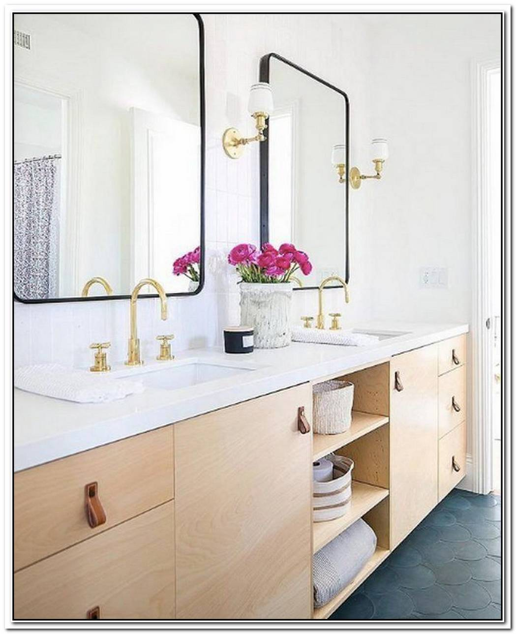 Decorative Details Complete A Clean And Symmetrical Bathroom
