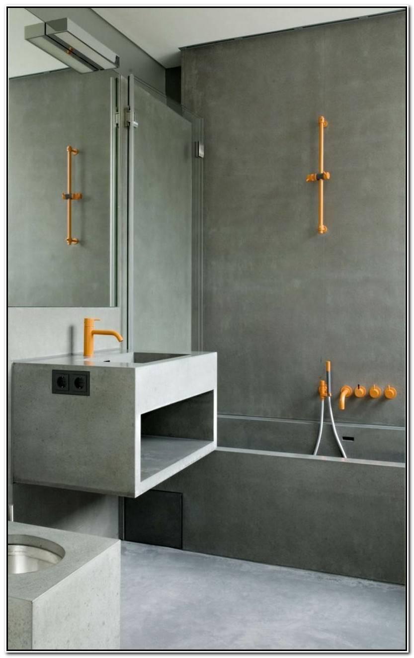 Elegante Baño Cemento Pulido Colección De Baños Accesorios