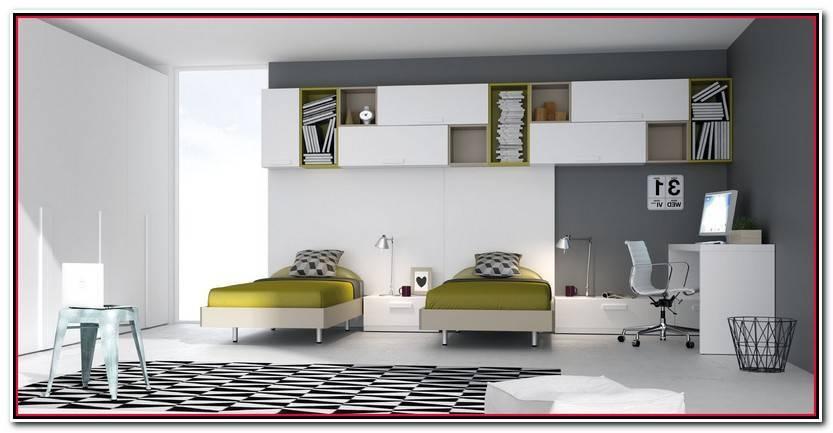 Elegante Dormitorio Juvenil Dos Camas Colección De Cama Accesorios