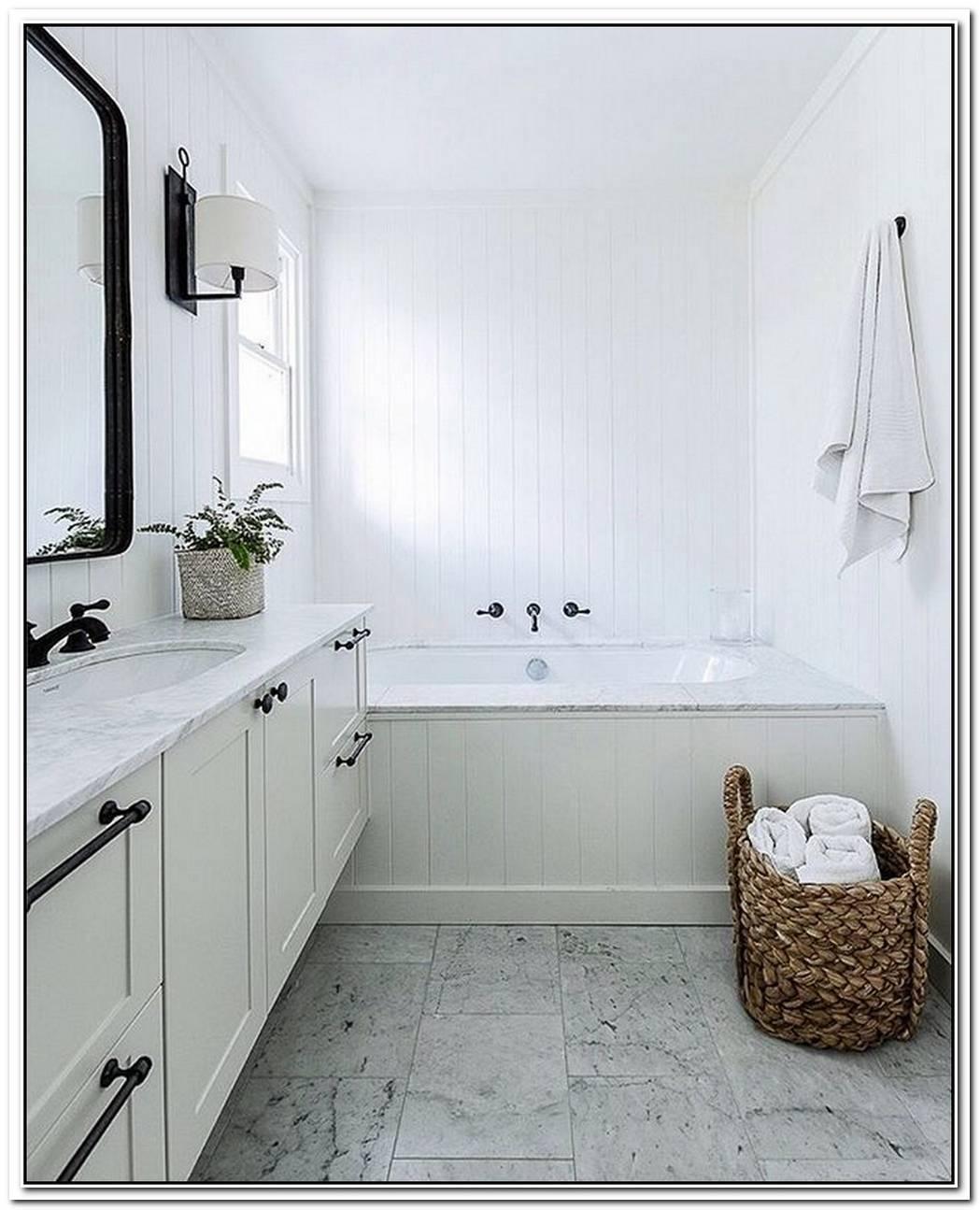 Farmhouse Master Black And White Bathroom Farmhouse