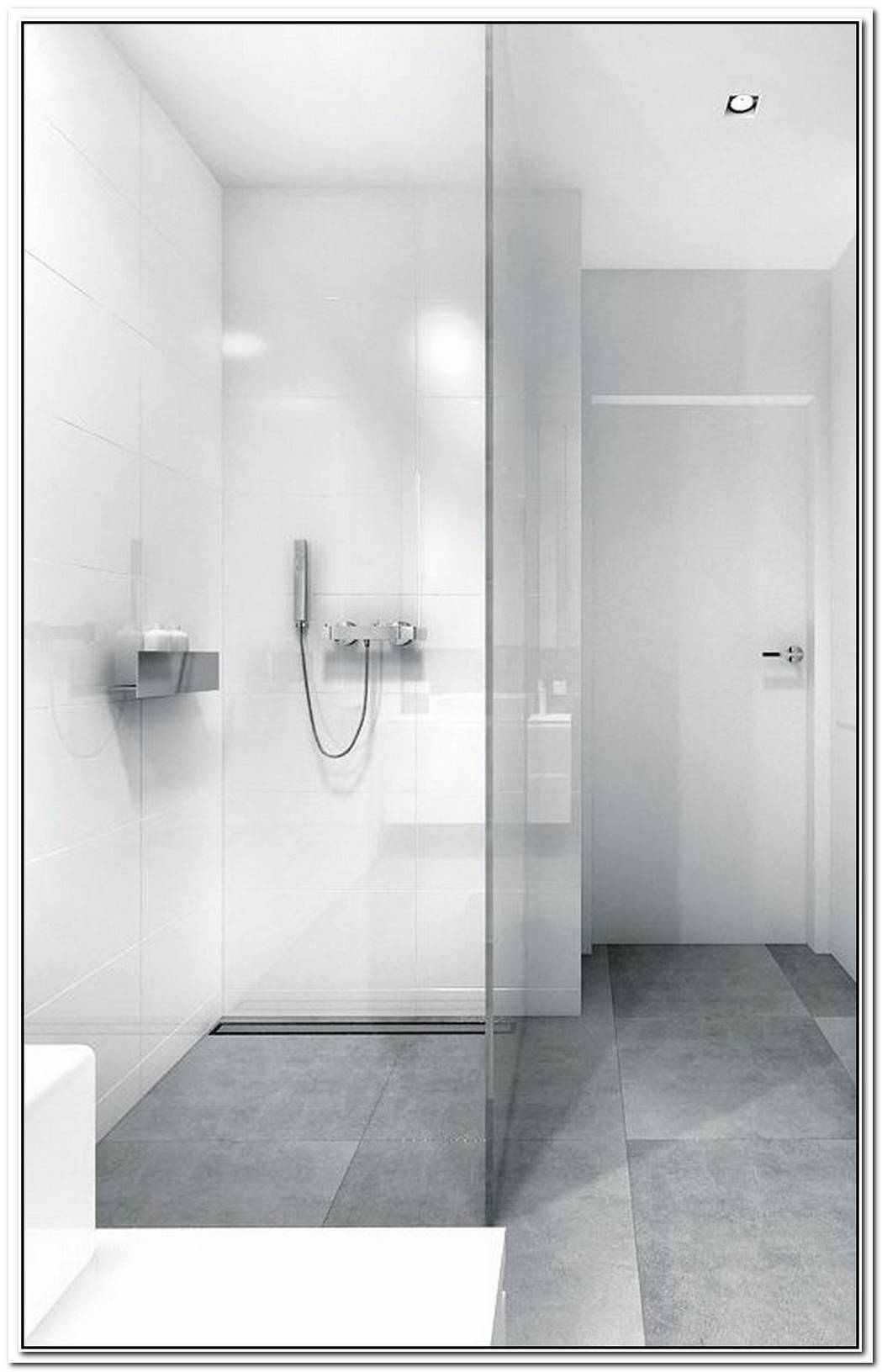 Floor Minimalist Bathroom Grey White