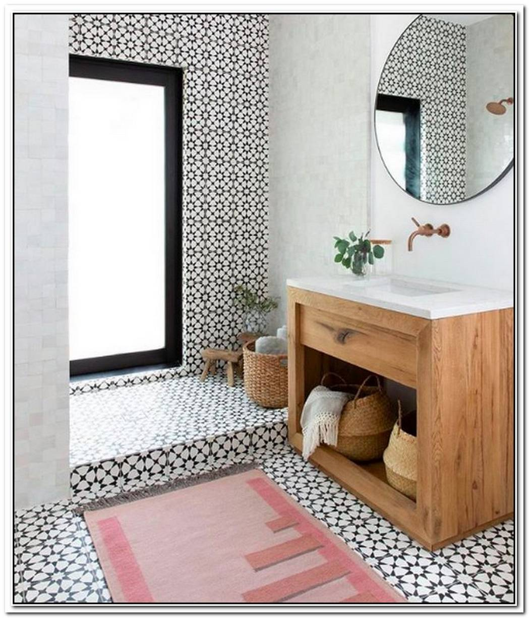 Floor To Ceiling Statement Tile Elevates A Stunning Bathroom