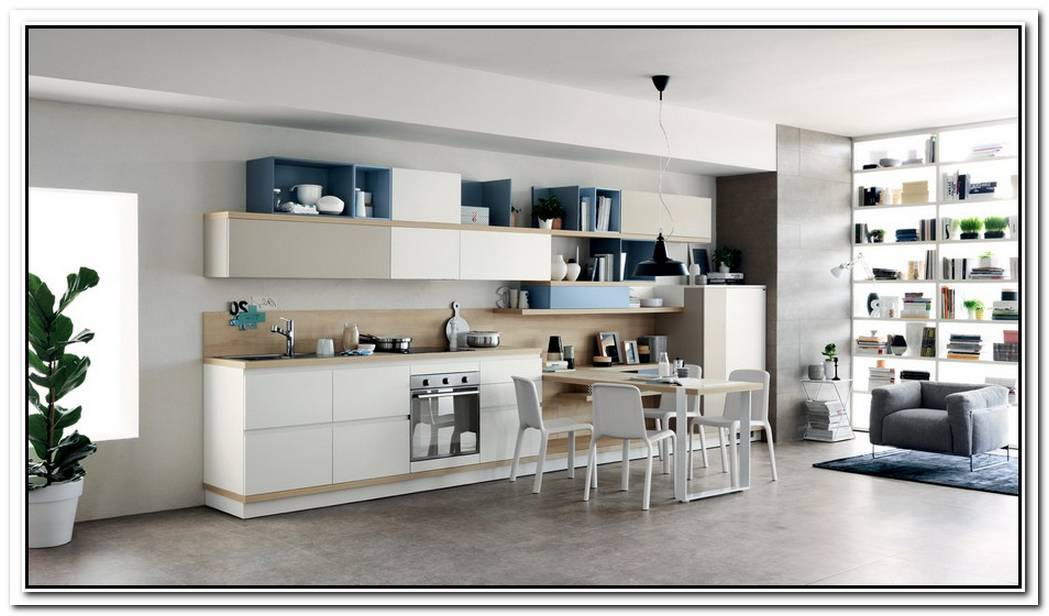 FoodshelfFreshFluid Design Unites Living Room And Kitchen