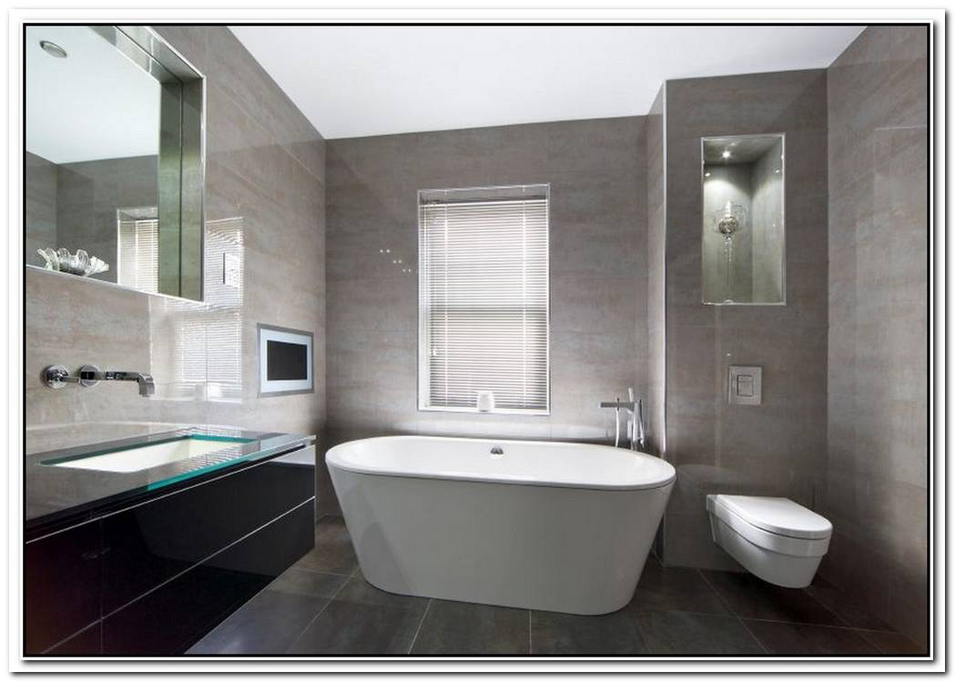 Fully Tiled Grey Grey Bathroom Modern