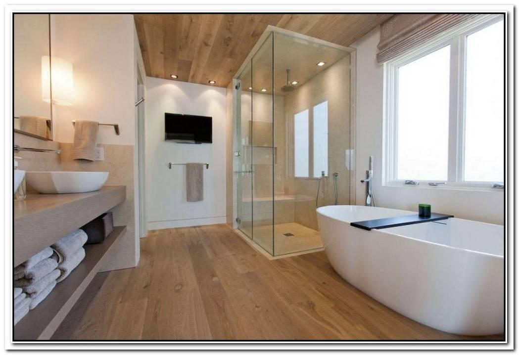 Glass Contemporary Bathroom Wood Floor