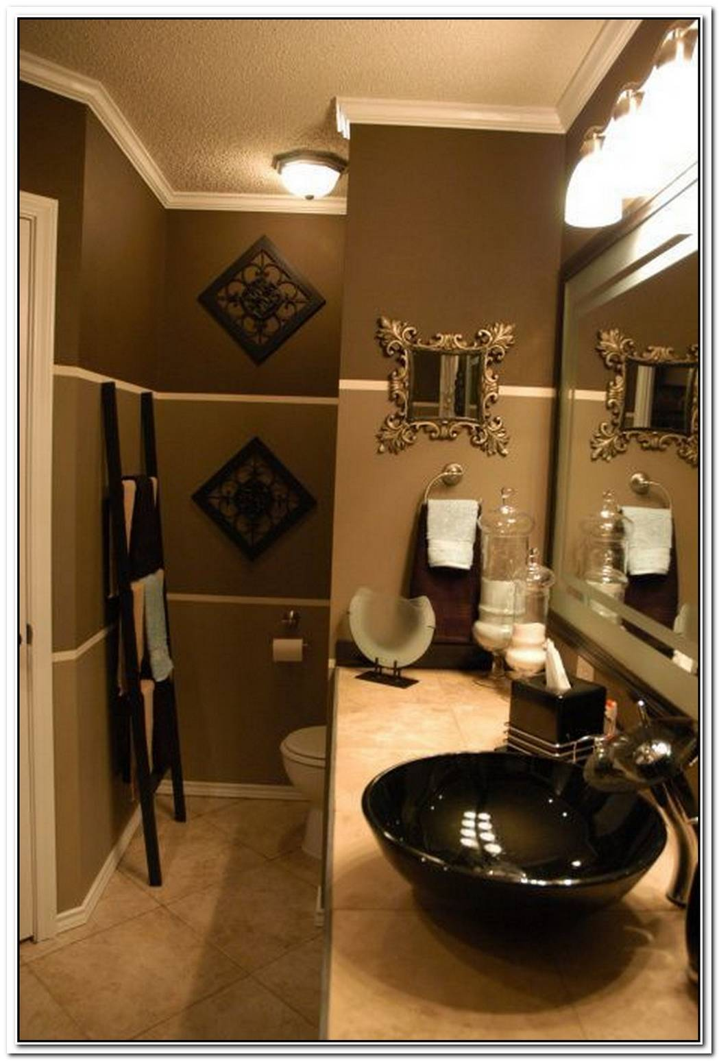 Gold Brown Brown Bathroom Small