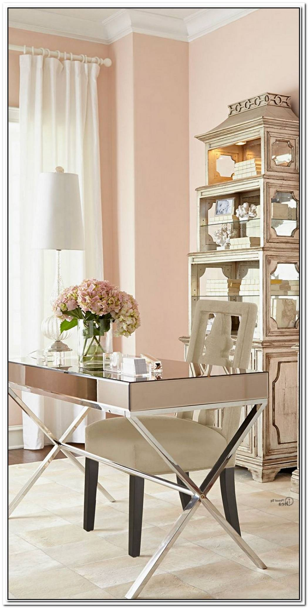 Golden And Blushing Home Office Accents