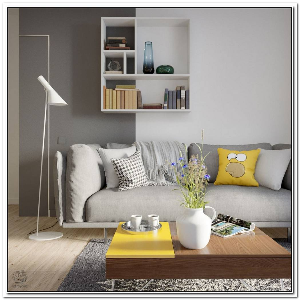 Grey And Yellow Open Plan Small Apartment Tour