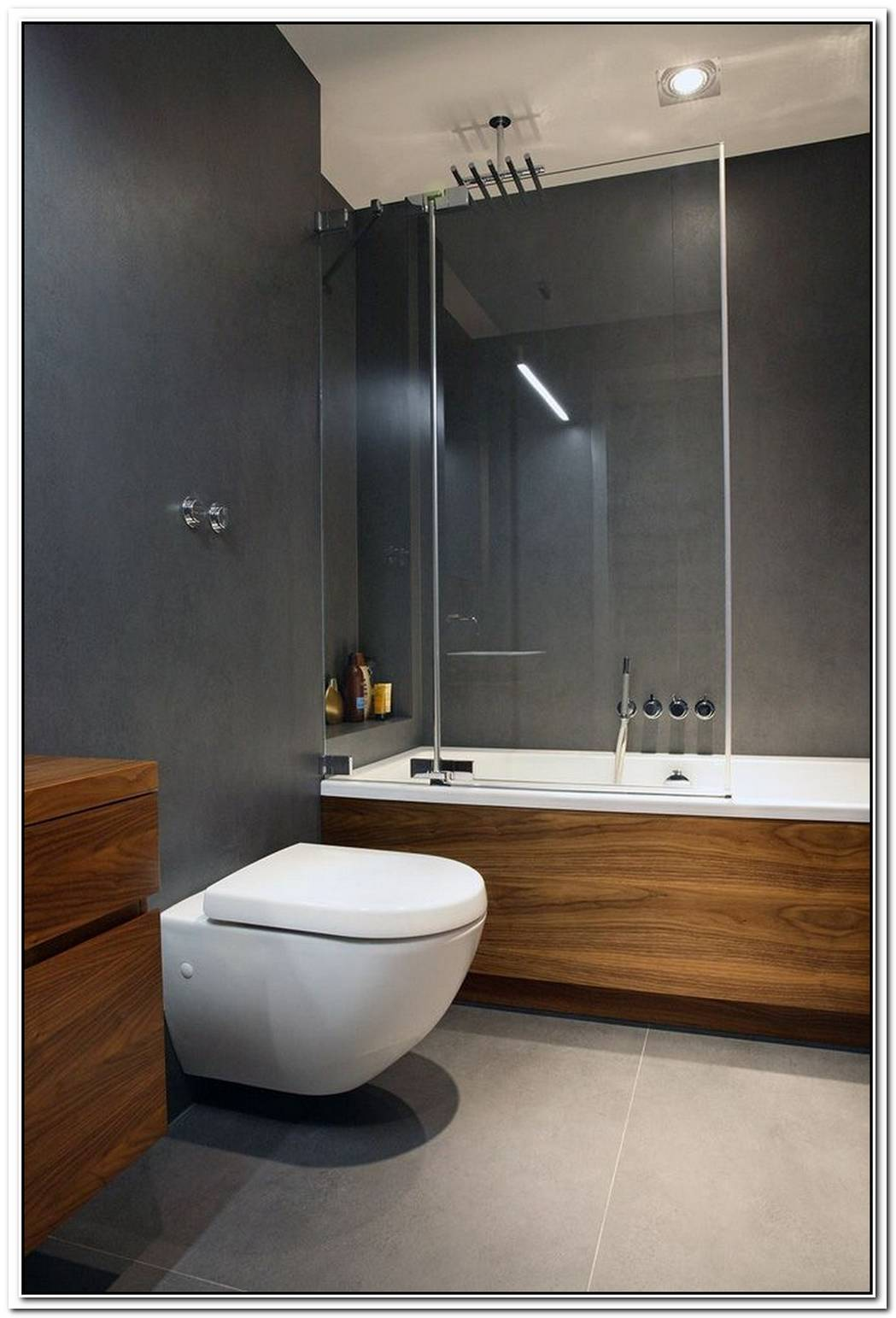 Grey Contemporary Bathroom Grey Wood